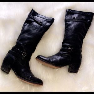 FRYE | Black Tall Leather Heel Boots